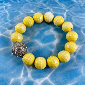 Cool Vintage yellow faceted ball stretch bracelet